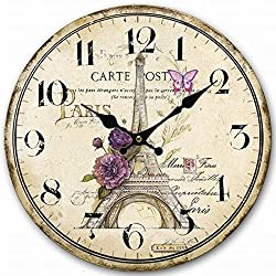 Swonda Decorative Silent Printed Wood Clock for Home Décor (14 inch, Eiffel Tower)