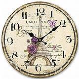 art deco style Swonda Wood Wall Clock, 12 inches Retro Style Non Ticking Silent Quartz Decorative Wall Clock for Room and Kitchen