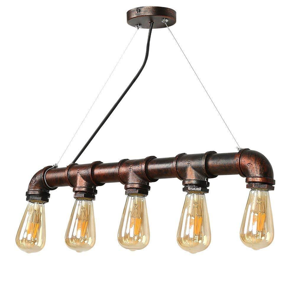 Yuewei®Industrie-Loft-hängender Weinlese-Deckenleuchte-DIY Weinlese-Deckenleuchte-DIY Weinlese-Deckenleuchte-DIY Dekoration-Lampe E27 Metal Pipe edcded