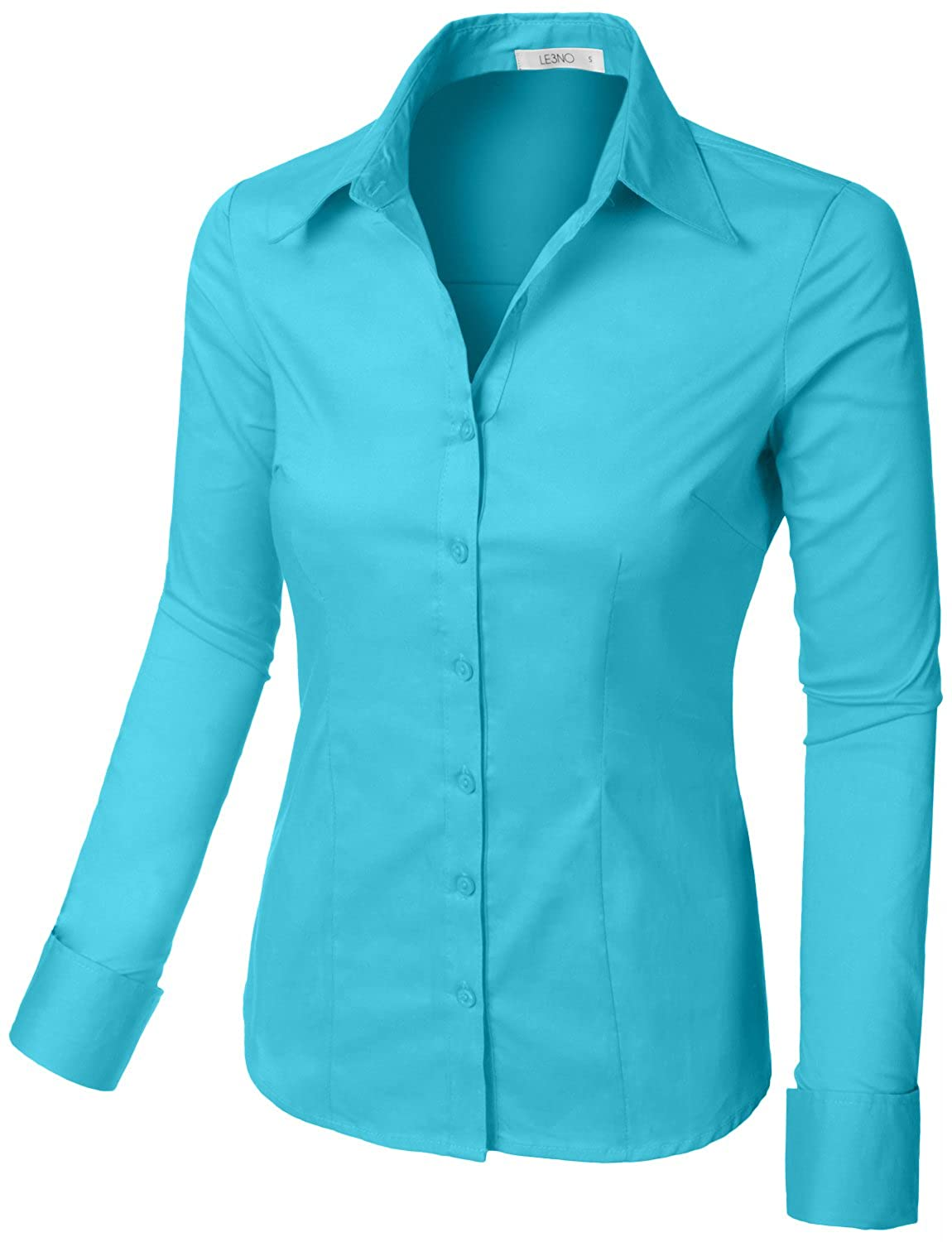 428be172fc17 Amazon.com  LE3NO Womens Tailored Long Sleeve Button Down Shirt with Stretch   Clothing