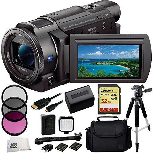Sony 4K HD Video Recording FDRAX33 FDR-AX33 Handycam Camcorder + 32GB Bundle 10PC Accessory Kit Includes SanDisk Extreme 32GB UHS-I/U3 SDHC Memory Card (SDSDXN-032G-G46) + 3 Piece Filter Kit (UV-CPL-FLD) + Extended Life Replacement Battery + Carrying Case by SSE