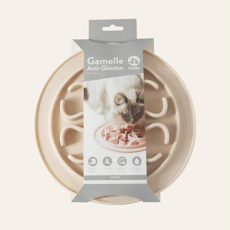 inooko - Gamelle Anti-glouton pour Chat, Antidérapante, Rose Clair