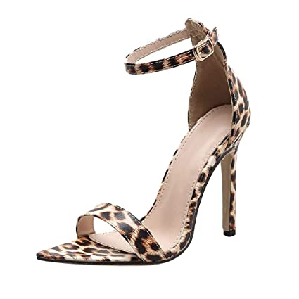 3944d42140 DENER❤ Women Ladies Girls Sandals with High Heels, Leopard Ankle Straps  Arch Support Wide Width Wedding Dress Shoes Stilettos at Amazon Women's  Clothing ...