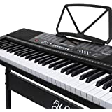 ALPHA 61 Keys Electronic Piano Keyboard Portable Digital Keybaord with 255 Tones Rhythms 50 Demos LCD Electric Holder Music Stand Adaptor Power