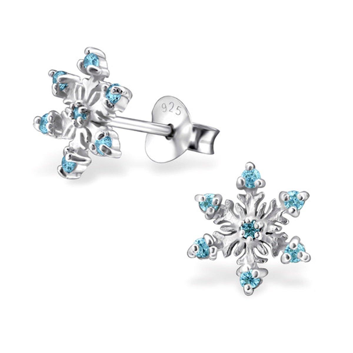 gh1a flocon de neige cristal Boucles d'oreille en argent 925fille Enfants la Reine des Neiges Frozen Idée Cadeau