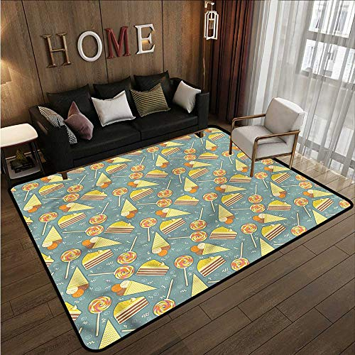 Indoor/Outdoor Rug Kids Candy and Ice Cream Super Absorbs Mud 5'3