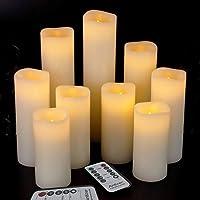 "Real wax Dancing Flame Pillar Orange Led Candle Flat Top Design 3x6//7//9/"""