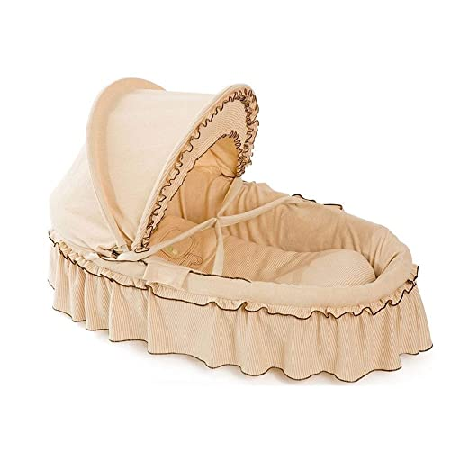 HLR-Travel Beds Crib Travel Cots Baby Basket Cradle Bed Portable with Adjustable Awning Corn Woven Hand-Woven 3 Styles Color 2, Size A