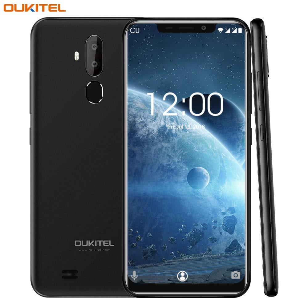 OUKITEL C12 Pro 4G Móviles y Smartphones Libres,6.18 Pulgadas con U-Notch (relación 19: 9),Android 8.1 Double SIM,MTK6739 a 1,5 GHz,Quad Core 2GB RAM 16GB ROM,Face ID-Negro