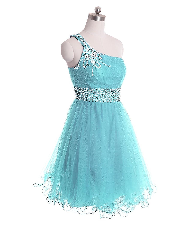 Amazon.com: FAIRY COUPLE One Shoulder Short Homecoming Dress ...