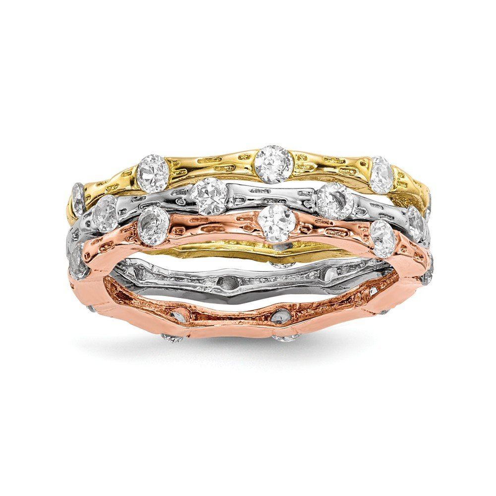 Sterling Silver Rose and Gold-tone Cubic Zirconia Stack Rings - Size 6