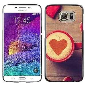 Caucho caso de Shell duro de la cubierta de accesorios de protección BY RAYDREAMMM - Samsung Galaxy S6 - Corazón del amor del café