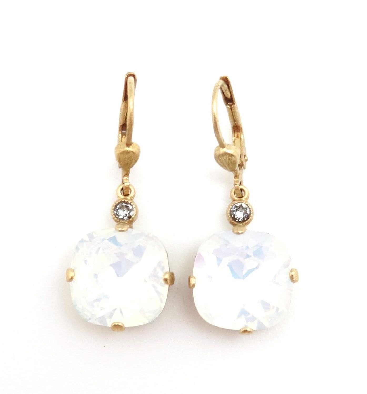 Catherine Popesco 12mm White Opalescent Swarovski Gold Plated Earrings 1 1/4