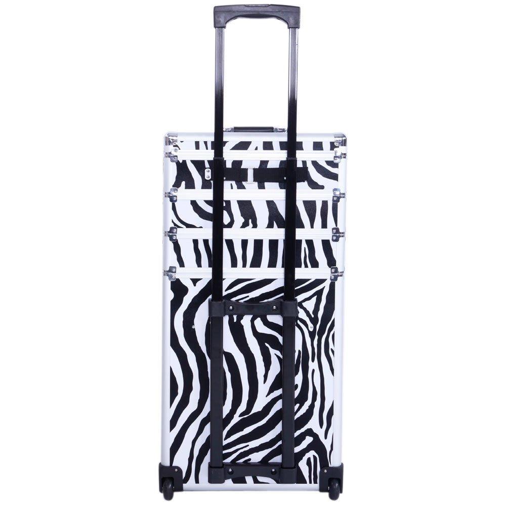 Aluminum 4 in 1 Rolling Makeup Trolley Train Case Box Organizer Salon Cosmetic - Zebra By Allgoodsdelight365
