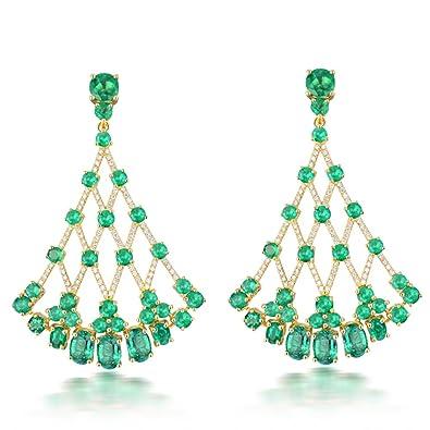 82785437ab1d Diseño de lujo joyas 18 K oro amarillo Natural Diamond Colombia verde  esmeralda pendientes  Amazon.es  Joyería