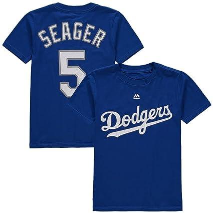 Amazon.com   Majestic Corey Seager Youth Los Angeles Dodgers Blue ... 19523da05da