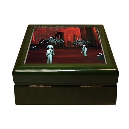 "Dos Fantasmas paraguas Halloween imagen 4 ""x4"" caja de joyería Azulejos ..."