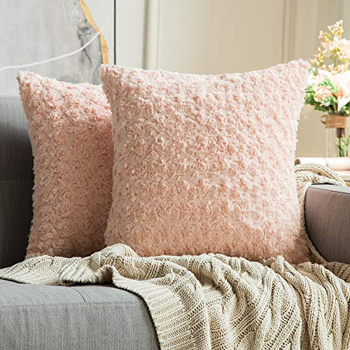 MIULEE Pack of 2 Decorative Throw Pillow Covers Luxury Faux Fuzzy Fur Super Soft Cushion Pillow Case Decor Peach Pink Cases for Couch Sofa Bedroom 18 x 18 Inch 45 x 45 cm (Decorative Pillows Peach)