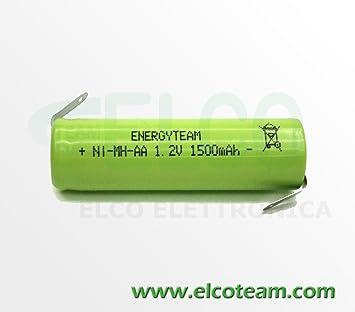 EnergyTeam - Pila stilo AA de 1,5 mAh Ni-MH con láminas para soldar: Amazon.es: Electrónica