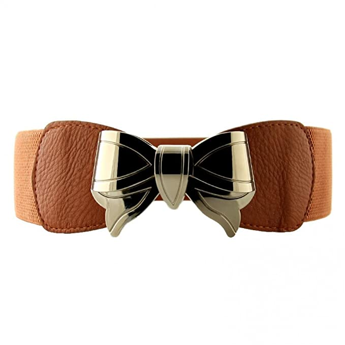 Vintage Wide Belts, Cinch Belts Retro Wide Metal Interlock Buckle Womens Elastic Waist Belt Cinch $9.99 AT vintagedancer.com