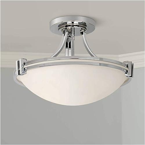Deco Modern Semi Flush Mount Ceiling Light Fixture Chrome 16 Wide White Glass Bowl for Bedroom Kitchen Living Room Hallway Bathroom – Possini Euro Design