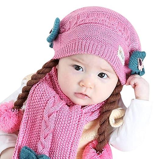 852b1f54 Amazon.com: Baby Girls Pompom Beanie Hat Props Crochet Knitted Braid ...