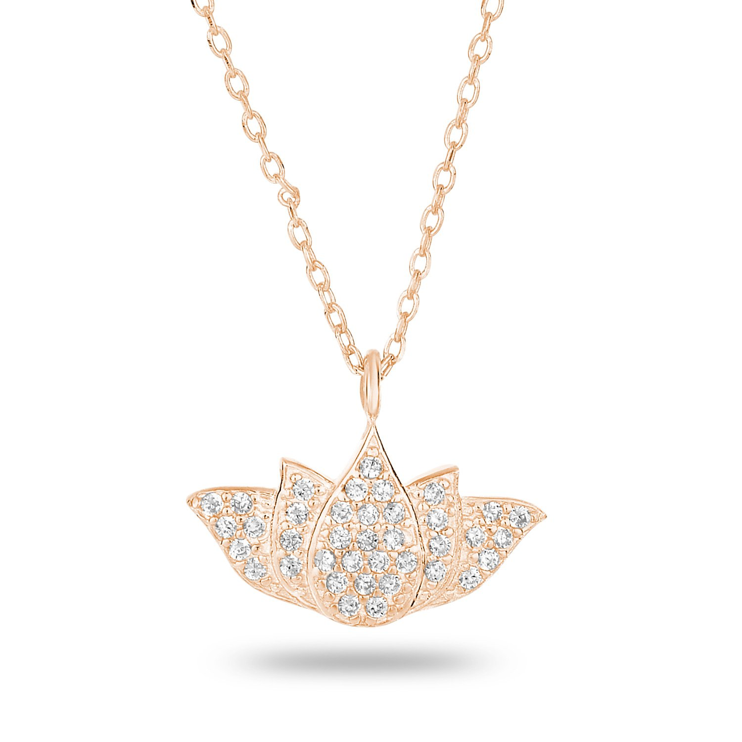 14k Rose Gold-Plated Sterling Silver Cubic Zirconia Pave Matte Finish Lotus Pendant Necklace, 18\