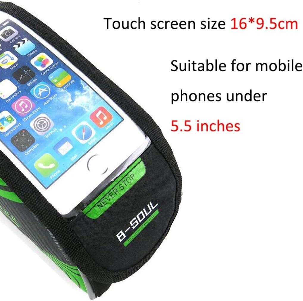 Bicycle Phone Mount Cycling Front Top Tube Pouch Frame Phone Holder Bag Pannier Cloud Bike Frame Bag Color : Green, Size : 5.5 inches
