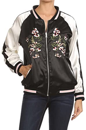 6bfbe6848 Reversible Satin Bomber Jacket with Floral Embroidery Black Small at ...
