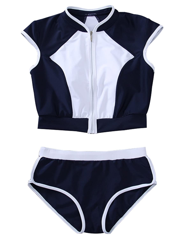 Women Zipper Low Waist Surf Bikini Set High Neck 2 Pieces Bathing Suit Swimwear