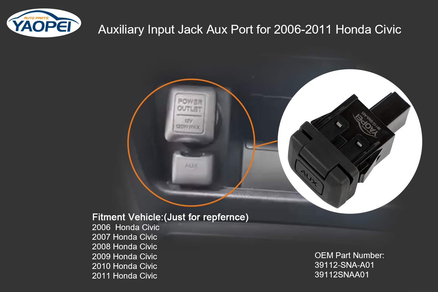 39112-SNA-A01 Auxiliary Input Jack Aux Port for 2006 2007 2008 2009 2010 2011 Honda Civic Replace OE# 39112SNAA01
