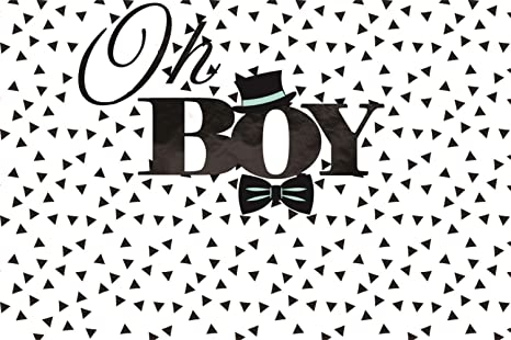 Laeacco 10x8ft On Boy Baby Shower Invitation Card Backdrop Vinyl Black Gentleman Hat Bow Small Triangle Pattern Background Boy Baby Baptism Birthday