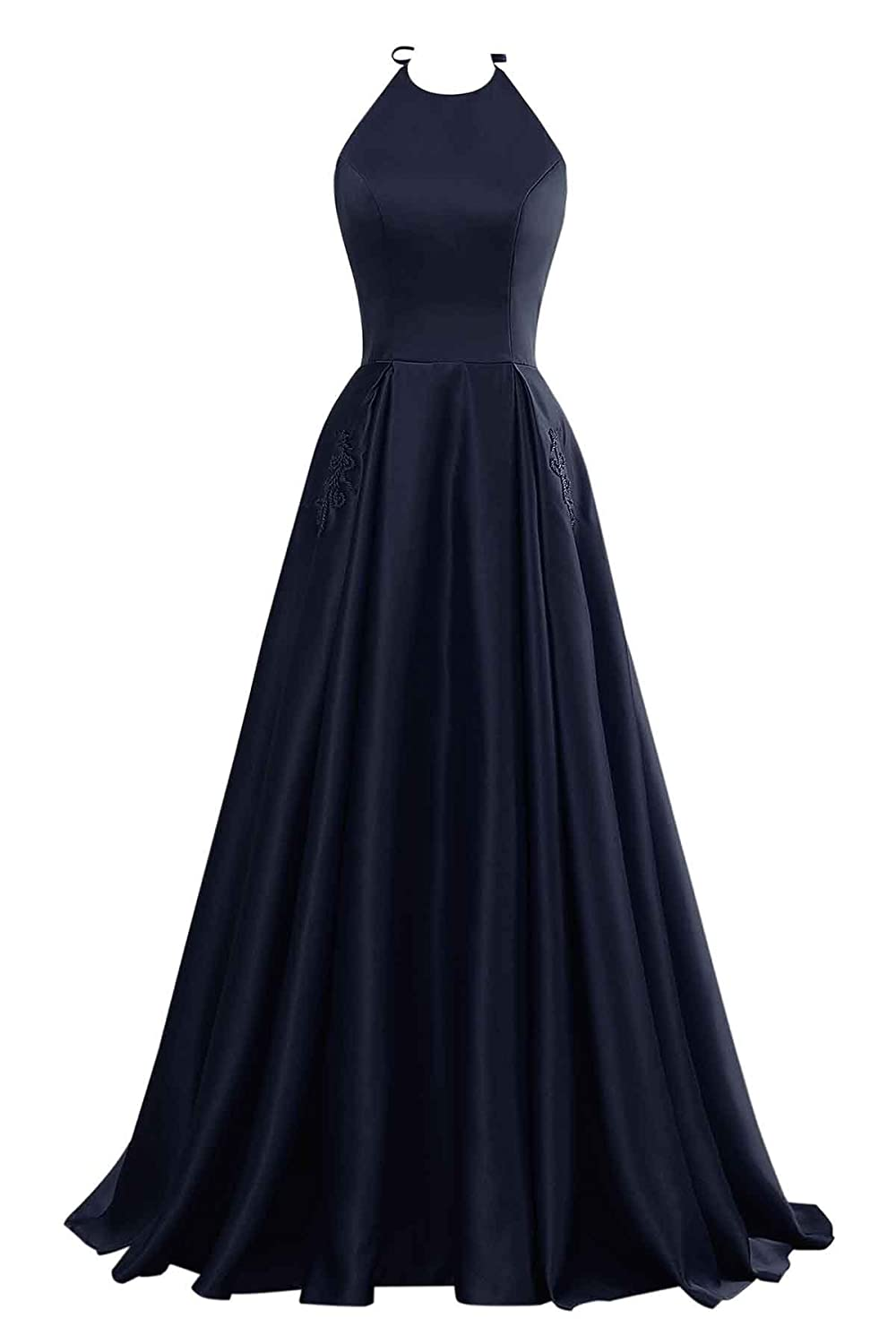 Navy Changuan Halter Aline Satin Evening Prom Dresses for Women Beaded Long Formal Gown with Pockets