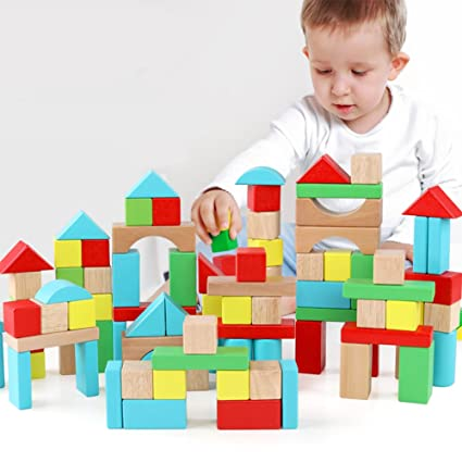 Qzm Wooden Building Blocks Set Carrying Container Basic Build Play Stacking Toy Toddlers Boys Girls Educational Preschool Learning Toys 4 Colors 9