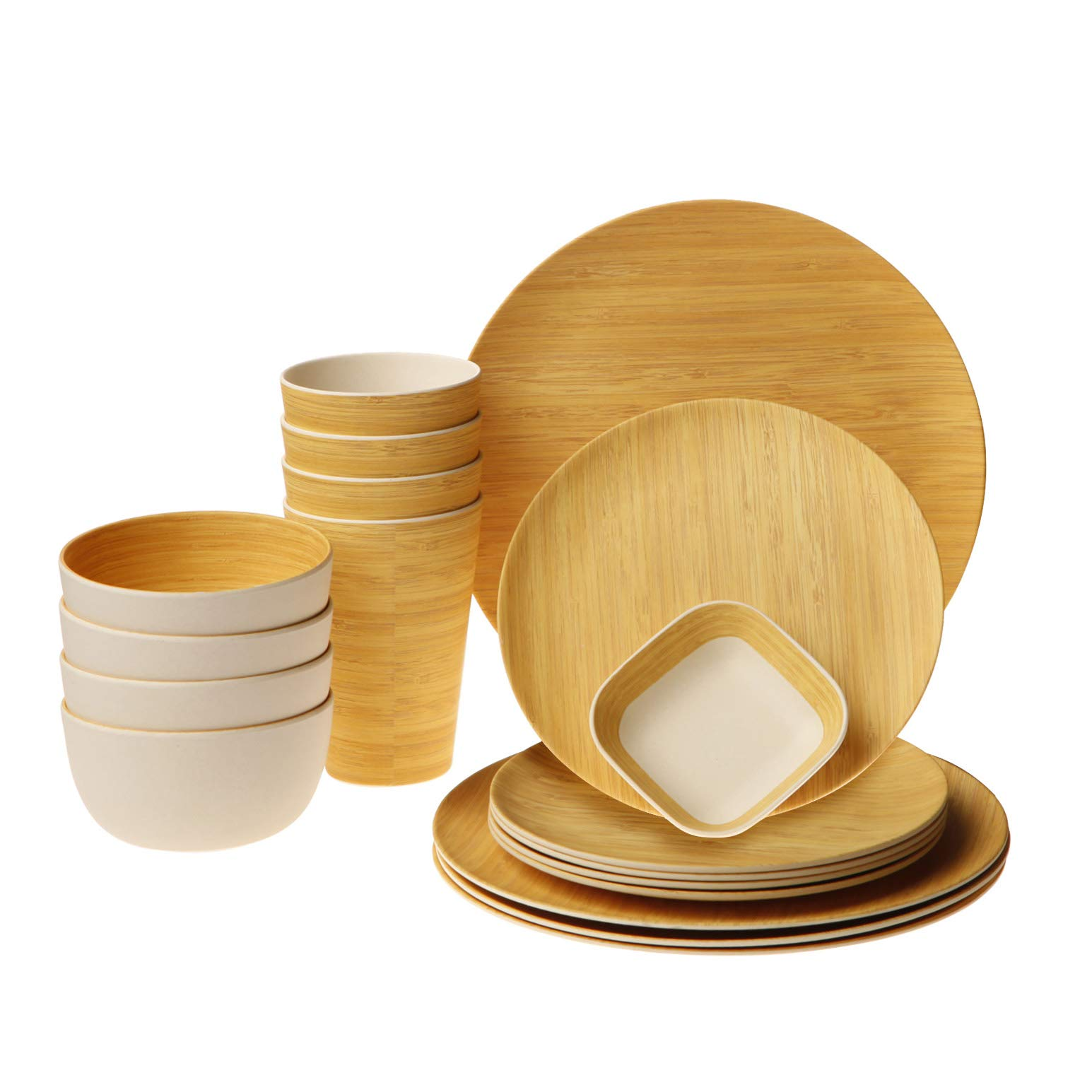 Earth's Dreams Reusable Bamboo Dinnerware Set - Serves 4 with Organic Bamboo Fiber Plates, Cups, Bowls and Bonus Square Saucer (17 Pieces)