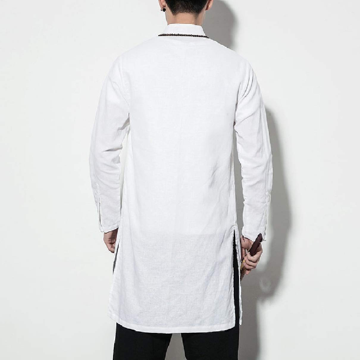 Coolred-Men Solid-Colored Button-Front Long-Sleeve Longline Woven Shirt