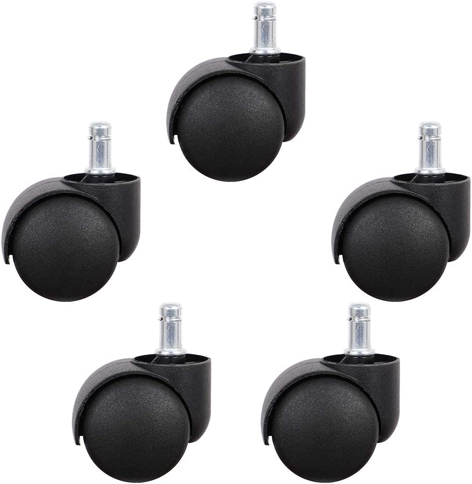 Office Chair Caster, Replacement Chair Wheels for Hardwood Floors and Carpet Heavy Duty Casters for Chairs to Replace Office Chair Mats - Universal Fit (Set of 5)
