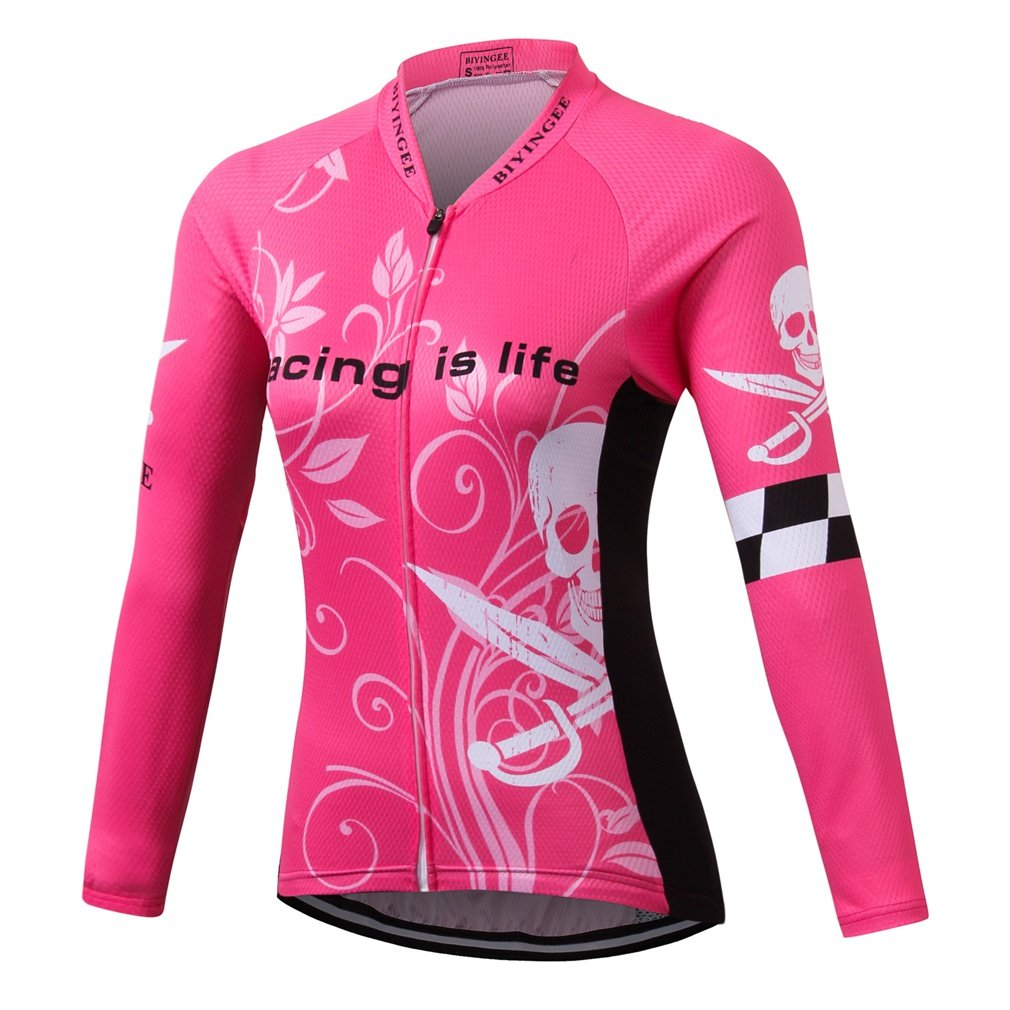biyingee Women 's Cycling Jersey Long Sleeve with Reflectiveストライプ Tag XXL(Chest 43.3\ Skull Pink B07BCH85DS