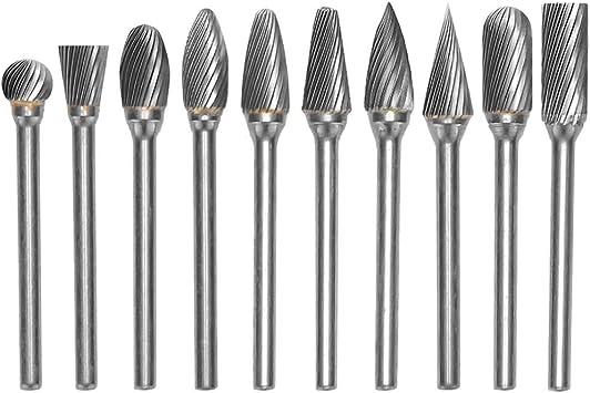 """1//8/"""" Shank Tungsten Carbide Single Cut Head Rotary Burr Set 10Pcs"""