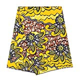 Mfasica Women African Wax Print Batik Organic Cotton Fabric For Sewing Yellow OS