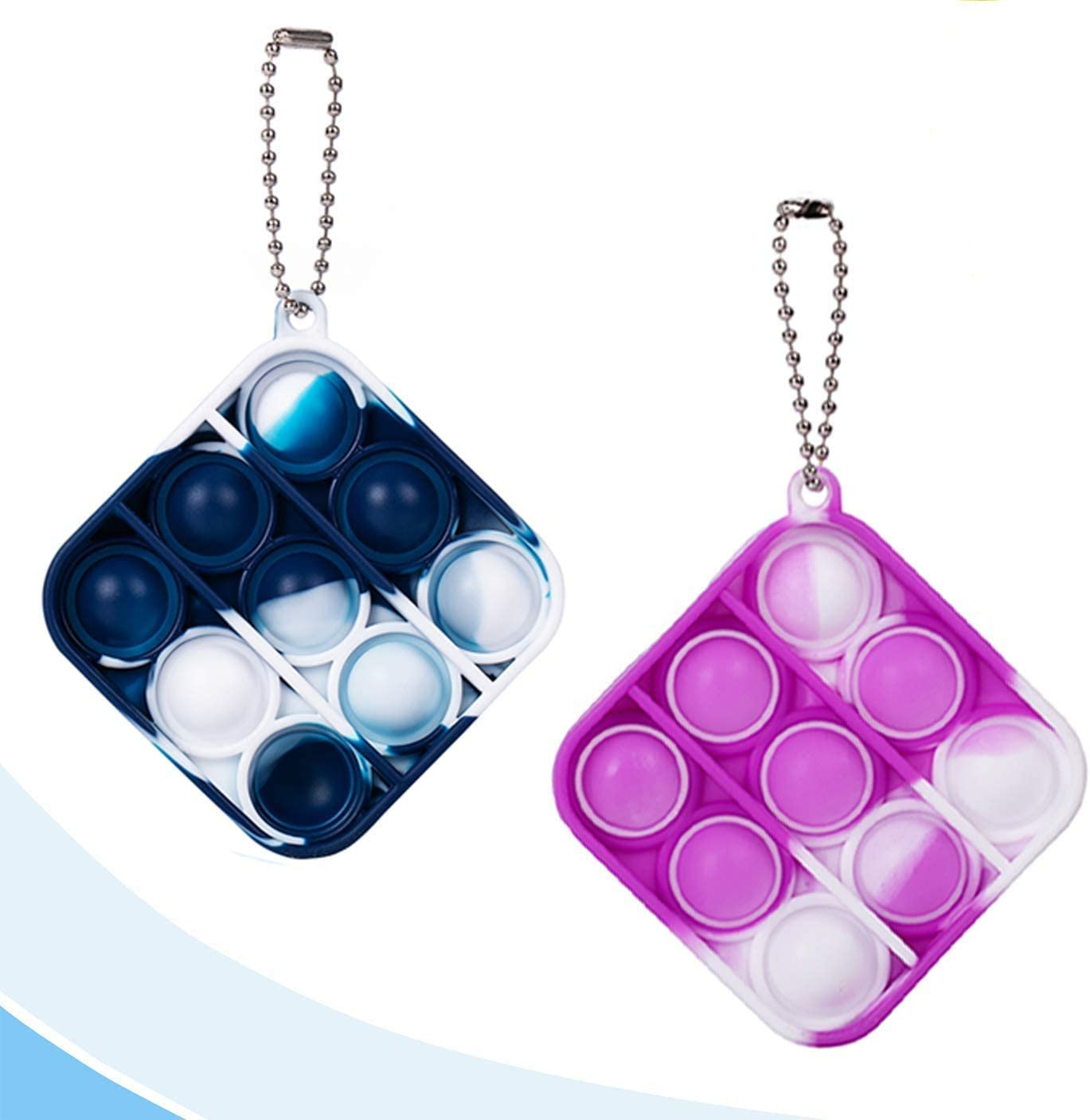 Bat Dimple Fidget Toys Mini Stress Reliever Hand Toys Keychain Toy Bubble Wrap Pop Anxiety Stress Relief Office Desk Toys for Kids Adults White