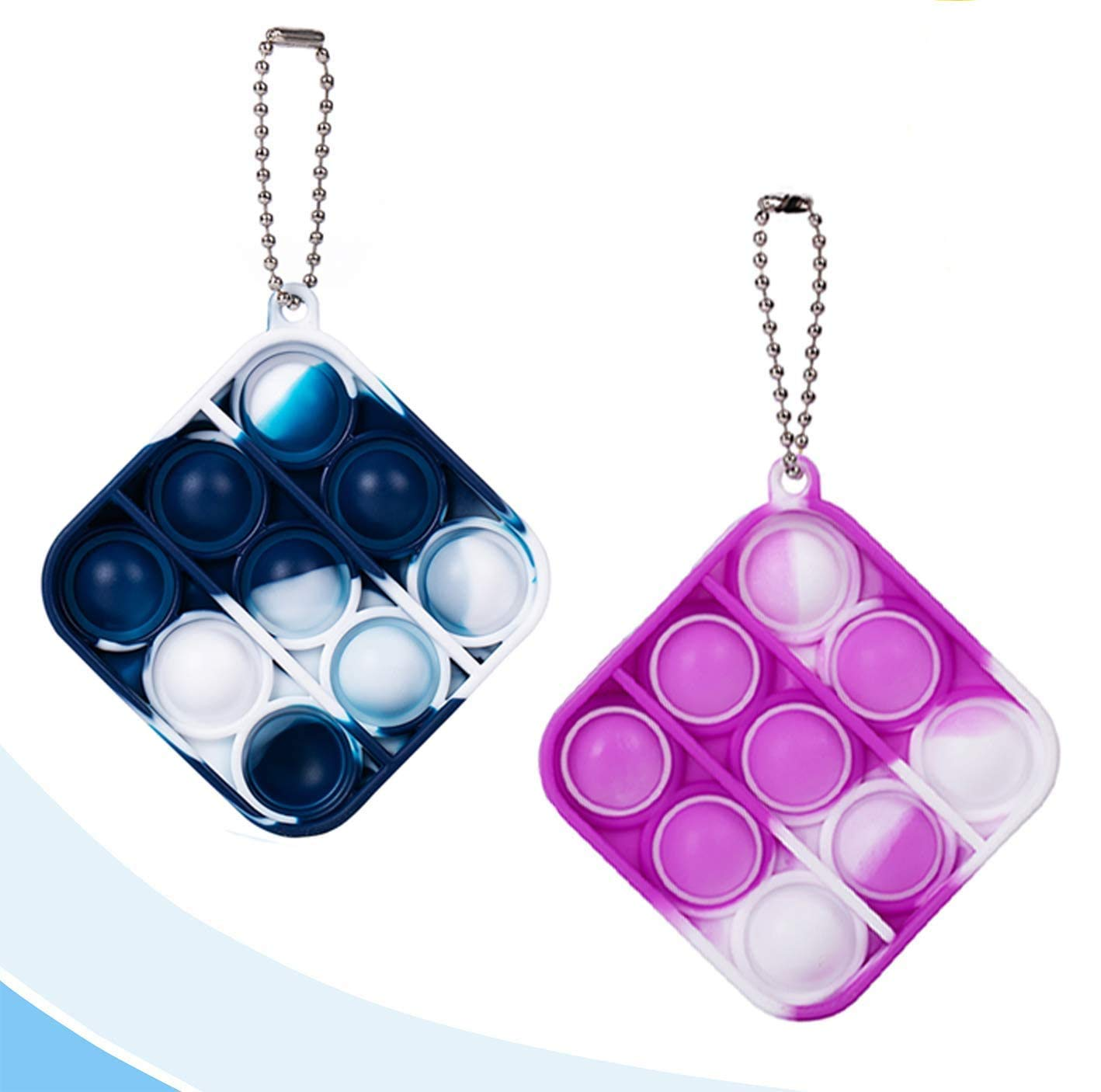 2 Pcs Simple Dimple Fidget Toy Mini Stress Relief Hand Toys Keychain Toy Bubble Wrap Pop Anxiety Stress Reliever Office Desk Toy for Kids Adults Purple Blue