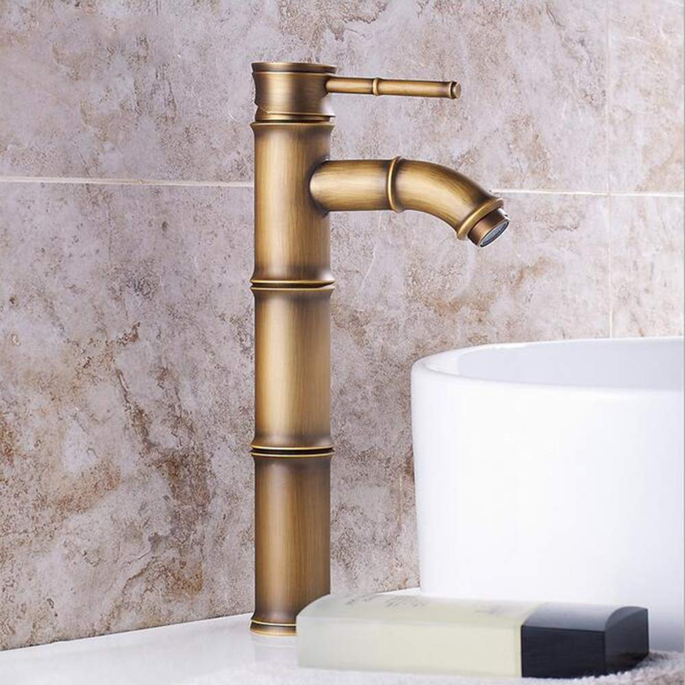 MICHEN Waschbecken Wasserhahn - Vorspülung Regendusche Verbreitete Antikes Kupfer Mittellage Einzigen Handgriff Zwei Löcher,B