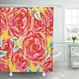Bright Pink Shower Curtain Emvency Decorative Shower Curtain Orange Bright Pink Roses on The Yellow Watercolor with Big Red Flowers Green Floral 72