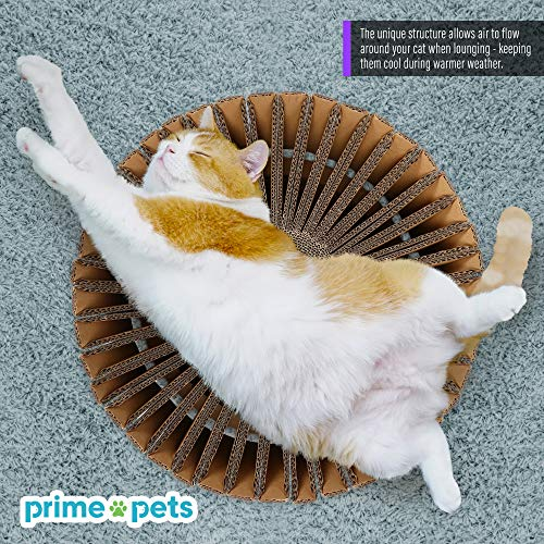 PrimePets Cat Stratching Corrugated Cardboard Scratcher Lounge Bed (Sunflower Shape)
