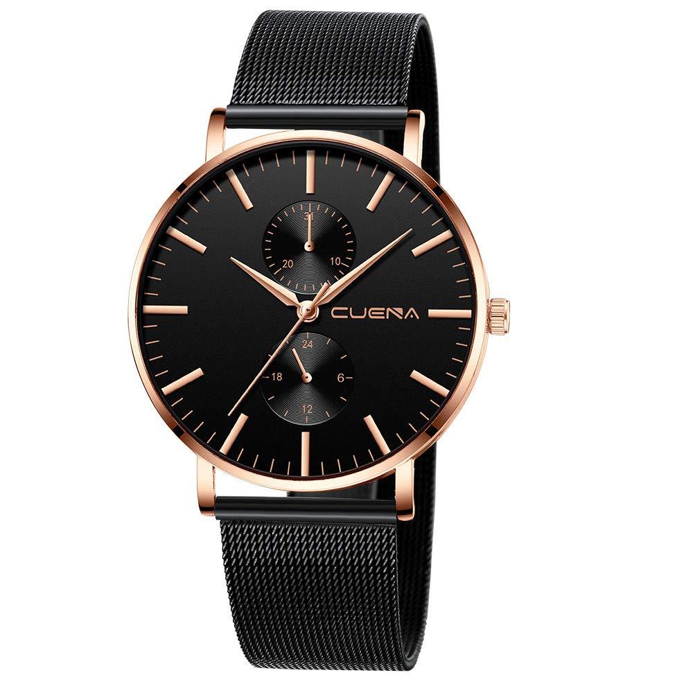 Minimalist Wrist Watches for Men, Unisex Analog Quartz Watch with Steel Mesh Strap 30m Waterproof by Bravetoshop(D)