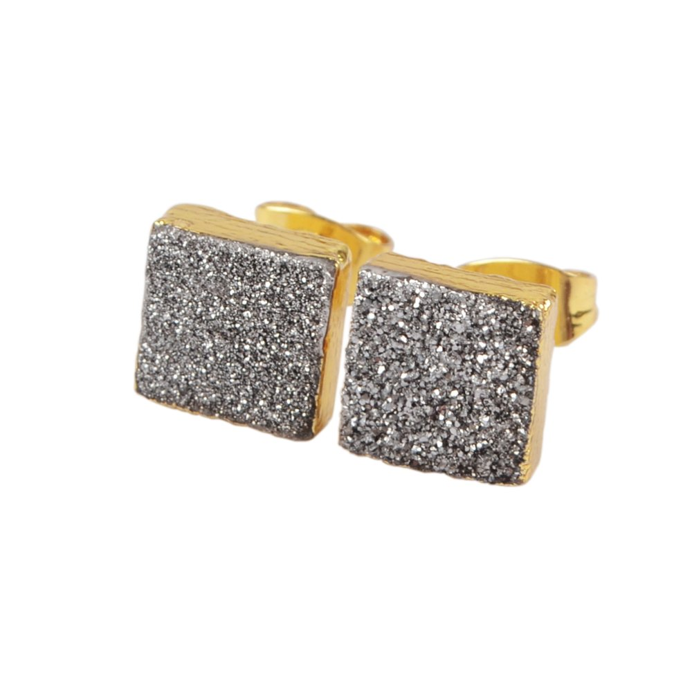 JAB 1 Pair 8mm Square Gold Plated Natural Agate Titanium Rainbow Druzy Post Stud Earrings G1279