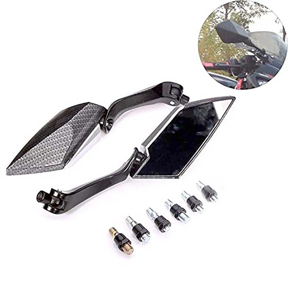 KaTur Motorcycle Rearview Mirror Black Triangle Demon Blade Style CNC Machined Billet Aluminum 0MM Mounting Tool Bolts For Yamaha MT-01 MT-03 WR TDM TDR TW Fazer XJR TDM XJ XTZ V Max WR FZ1 FZ6 FZ8