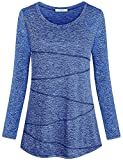 Becanbe Gym Shirts for Women,Laides Casual Retro Style Jersey Yoga Tee Basic Daily Wear Long Sleeve Tops Lightweight Comfortable Clothing Crew Neck Seamless Stitching Blouses(Blue,Large)
