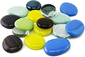 Large Glass Gems Mosaic Stones Mixed Color Flat Back Glass Gemstones for Vase Filler,DIY Crafts,Fairy Garden Landscaping,Kitchen Decoration,Fish Tank Pebbles(2 LB)